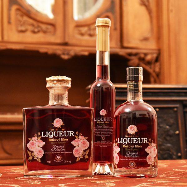 Ružový likér vsetky velkosti
